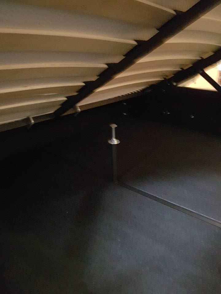 Centre frame supports, increasing height using longer mushroom headed coach bolts